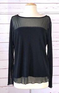 CAROLE LITTLE Size XL Sheer Panel Long Sleeve Top Black