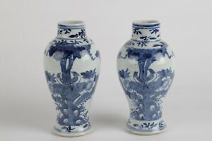 Chinese 19th century vases, blue and white porcelain Kangxi revival marked