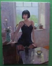 ART DECO SQUARE Bob Capelli Bambina in GIRDLE: ORIGINALE pittura ad olio ZLATAN pilipovic