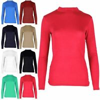 Womens Ladies Plain Long Sleeve Polo Turtle Neck Baggy Mini Casual TeeShirt Top