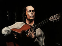 ORIGINAL Signed Handmade Oil painting on canvas. 23x17''. Paco de Lucia. Guitar