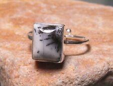 Sterling silver DENDRITIC AGATE adjustable ring UK P½/US 8. Gift bag.