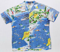 Kennington California Santa Catalina Hawaiian Shirt Mens Size Large