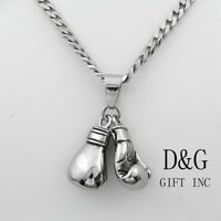 "DG Men's 24""Silver Stainless-Steel Cuban Curb Necklace~Boxing Gloves,Pendant,Box"