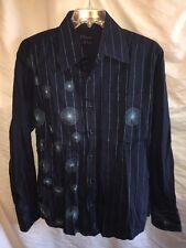 7 diamonds💎 XL Men's Long sleeve Dress Shirt Striped Embroidered Blue •SEXY•💋