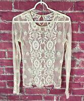 Intimately Free People Women's Lace Long Sleeve Blouse Womens Size XS