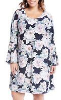 NEW Karen Kane Plus Flowers Liquid Knit Flare Sleeves Lined Dress 2X Retail $144