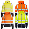 HI VIS VIZ 2 TONE HOODED SWEATSHIRT HOODIE REFLECTIVE WORK WEAR HOODY TOP JACKET