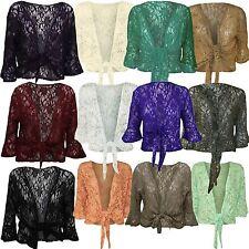 New Ladies Plus Size Lace Tie Bolero Top Sequins Flared 3/4 Sleeve Shrug 12-26