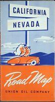 1940 Union Oil Company California Road Map Vintage Auto Car Tour Petroliana