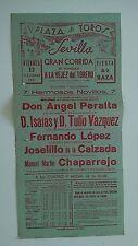 1951 Cartel Plaza de Toros Sevilla Peralta López Calzada Chaparrejo Corrida