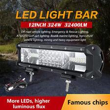 12inch 324W PHILIPS Triple Rows Spot&Flood LED Work Light Bar Offroad SUV UTE
