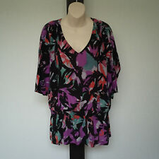 'SUSSAN' AS NEW SIZE '14' MULTI PRINT SILK 3/4 SLEEVE SHEER TOP