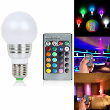 3W 16 Colour Changing RGB LED E27 Bulb Mood Night Light Lamp + Remote Control UK