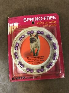 Vintage CAT PEARL NECKLACE pet Hartz sealed purple bead beaded safety collar NOS