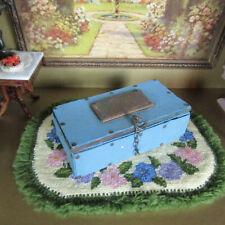 Antique VICTORIAN? FASHION DOLL TRUNK Dollhouse Furniture Travel Wardrobe Chest
