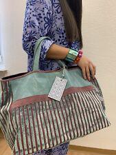 Shopper Damentasche Bag Henkeltasche Tasche Leder & Stoff Materialmix