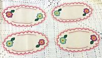 Vintage Doillies Coasters Linen & Embroidered Flower Scallop Edge Set of 4