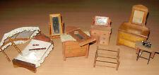 7 Piece Miniature Dollhouse Furniture Lot Bedroom Wood Furniture Shackman