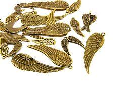 40g x Antique Bronze Aile Ange mixte aléatoire charmes pendentifs bijoux U81