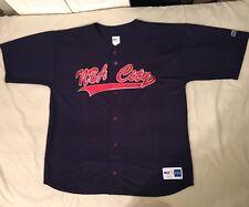 Vtg 2000 Nba City Script Mens Navy Blue Button Front Baseball Jersey Size 2XL