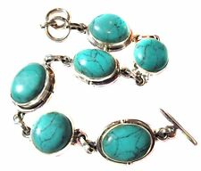 Bracelet Turquoise 6 Stones Link .925 Sterling Silver Extends to 7.5 Inches New