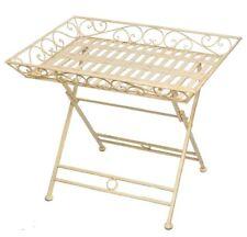 Gartentisch Schmiedeeisen Tisch Klapptisch Beistelltisch Antik-Stil weiß