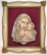 ANTICO CAPOLETTO in gesso ceramica MADONNA CON GESU' BAMBINO cm.39 x 33