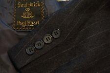Paul Stuart Southwick Charcoal Pinstriped Flannel 2 Pc Suit Jacket Pants Sz 40R