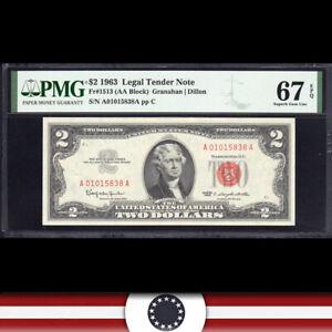 1963 $2 LEGAL TENDER *RED SEAL* PMG 67 EPQ Fr 1513  A01015838A