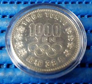 1964 Japan 1000 Yen Tokyo Olympics Mount Fuji Commemorative Silver Coin