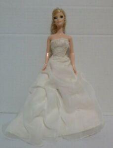 Mattel Barbie Collector Doll Wedding Bride Blond Hair Rooted Eyelashes Tiara