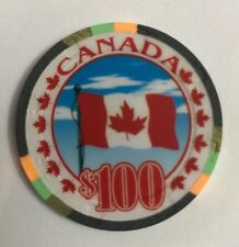 Canada Maple Leaf $100 Chip Casino Canadian Flag Poker
