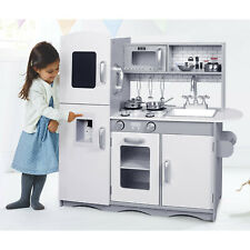 Deluxe Play Kitchen with Sounds Lights Kids Wooden Pretend Toy 10 Utensils Grey