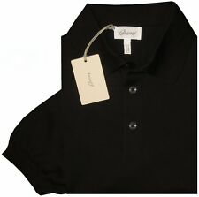 $550 NEW BRIONI BLACK SHORT SLEEVE 3 BUTTON COTTON MENS POLO SHIRT EU 52 L