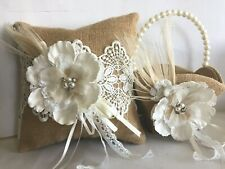Burlap and Lace Flower Basket and Ring Pillow Set