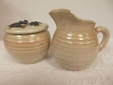 1995 Rowantree Pottery Signed Blue Hill Maine Creamer & Sugar Set