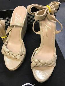 Delman Gema Wedge Beige Glisten Shoe Strappy Wrap ankle tie Metallic Espadrille