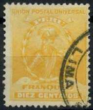Peru 1896-1900 SG#342, 10c Yellow, Pizarro Used #E1274