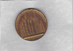 LARGE 1886 MILAN CATHEDRAL BRONZE MEDAL IN VERY FINE CONDITION