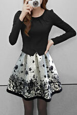 Women plus size elegant long sleeve flower printed dress party club cocktail new