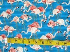 aves 100/% Algodón Popelín flamenco tela impresa. Blue Tono Gris