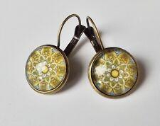 Ohrhänger Ethno Vintage Retro Mandala floral Cabochon gelb grau antik bronze