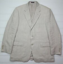 Adolfo Linen Blazer 44R Beige Mens Two Button Lined Vented Size Herringbone Man