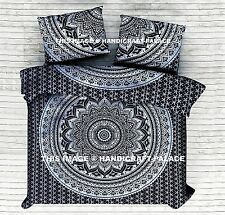 Black Silver Ombre Mandala Quilt/Doona/Duvet Cover Set Indian King Size Bedding