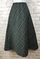Vintage Holiday Christmas Green Metallic Plaid Womens Skirt Union Sz 15/16