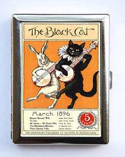 Black Cat Rabbit Playing Banjo Cigarette Case Wallet Business Card Holder