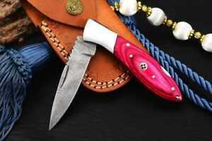 MH KNIVES RARE CUSTOM DAMASCUS STEEL FOLDING/POCKET KNIFE BACK LINER LOCK MH-42