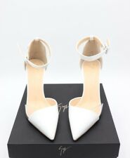 NIB Giuseppe Zanotti Lucrezia White Patent Leather Ankle Strap Pumps Heels 11 41