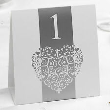 TABLE NUMBERS 1 to 12 WHITE SILVER Tent Cards VINTAGE ROMANCE Wedding Party